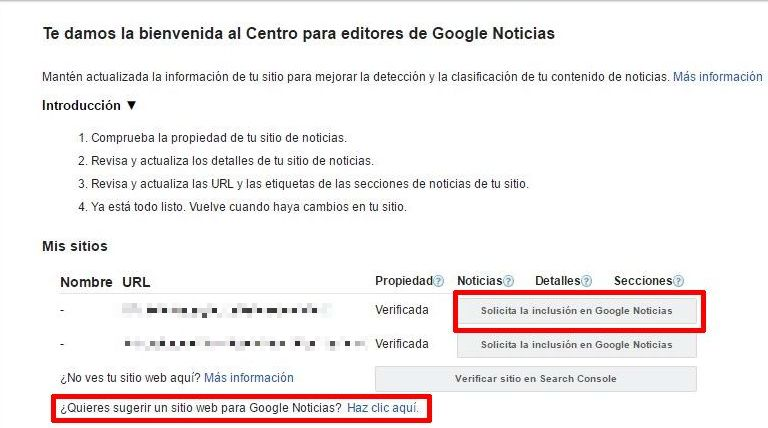 Interfaz del Centro de Editores de Google News