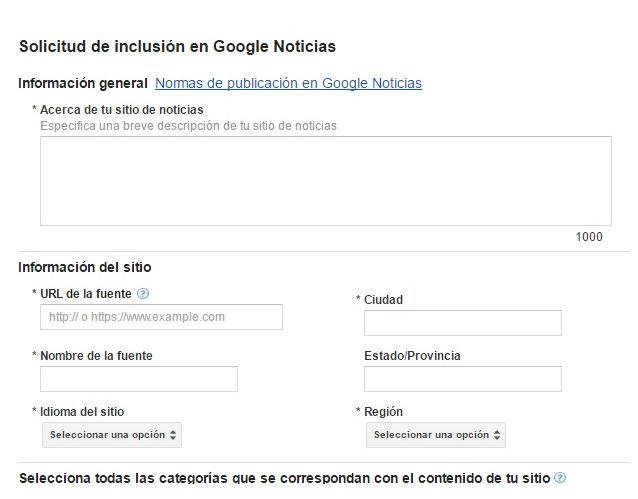 Solicitud de inclusión en Google Noticias